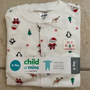 Carter's sleep and play 1st Christmas footie 6-9m